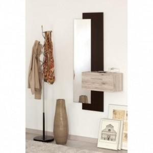 Mueble recibidor con espejo y cajón TINA acabados roble arena nuevo y roble denver
