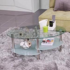 Mesa de centro AINARA tapa y revistero de cristal y pies de metal