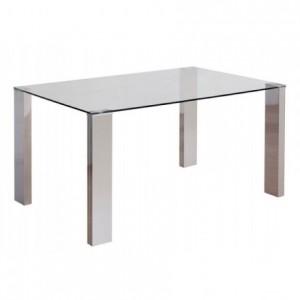 Mesa de comedor KARINA sobre de cristal y patas de DM con terminación acero de 140x90 cm