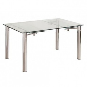 Mesa de comedor extensible CALVIA cristal templado y estructura de metal acabado brillo 140/170/200x90 cm