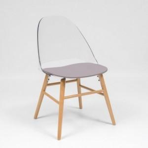 Silla de comedor o cocina de diseño nórdico SUTIL asiento transparente y patas de madera