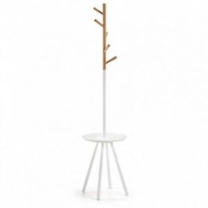 Perchero NERB madera natural y lacado blanco puro diseño nórdico