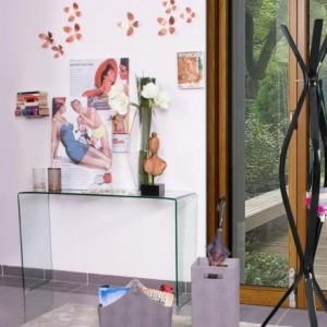 Mesa consola de 125x40 cm cristal curvado y templado BURANO