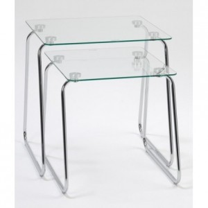 Juego de 2 mesas nido MU10198 cristal templado y base de acero cromadas