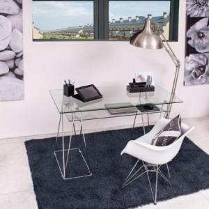 Mesa de escritorio PEAKS sobre de cristal templado y estructura de metal 130x65 cm
