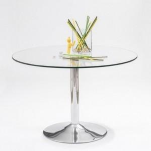 Mesa de comedor redonda Básica con pie de metal cromado