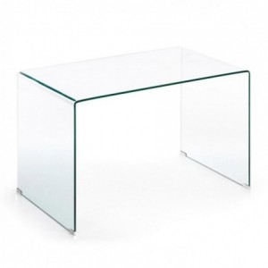 Mesa de estudio de cristal templado transparente BURANO 125x70 cm