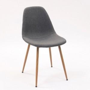 Silla de comedor CAIRO tapizada en tela gris y patas de metal símil madera