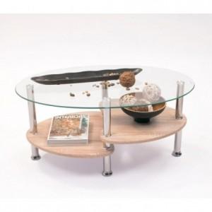 Mesa de centro AINARA ROBLE tapa de cristal y revistero de madera