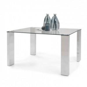 Mesa de comedor KARINA II sobre en cristal templado y patas de DM con terminación acero brillo de 140x90 cm