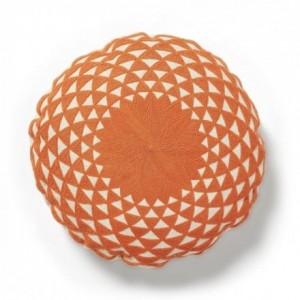 Cojín ZAPPA redondo 45x45 con diseño bordado en algodón naranja
