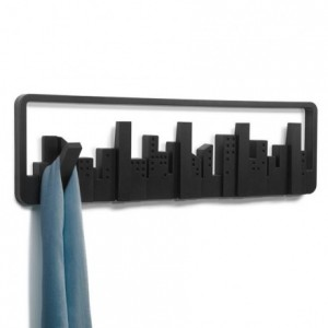 PERCHERO DE PARED UMBRA skyline con 5 PERCHAS RETRÁCTILES