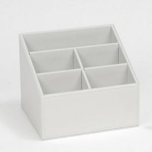 Caja portamandos de 5 compartimentos efecto piel - Organizador mandos a distancia