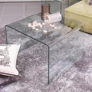 Mesa auxiliar de rincón BURANO de cristal curvado y templado