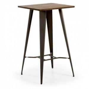Mesa de cocina diseño industrial MALIRA sobre de bambú y pies de acero color grafito 60x60 cm