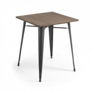 Mesa metálica industrial MALIRA acero y bambú color grafito 80x80 cm