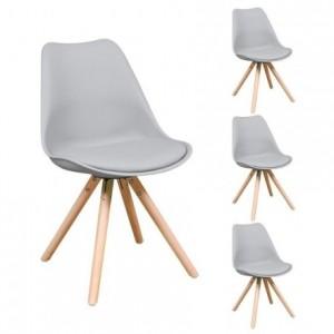Pack de 4 sillas de comedor ANDY asiento de polipropileno y patas de madera