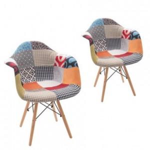 Pack de 2 sillones TOWER tapizados tela patchwork cool, inspiración sillón DAW eames