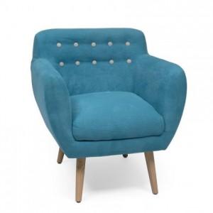Butaca de estilo nórdico KELLY tela azul y patas color roble