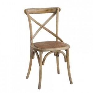 Silla de comedor de estilo vintage NADIA madera maciza de olmo y asiento de ratán natural