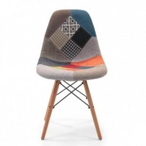 Silla de comedor COOL tapizada en tela patchwork inspirada en la silla Tower Eames