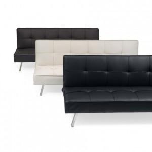 Sofá cama de 3 plazas apertura clic-clac KOHTAO tapizado en polipiel de 176 cm