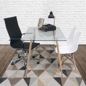 Mesa de escritorio CAIRO ANTIQUE tapa de cristal y patas de metal símil madera color roble de 120x79,5 cm
