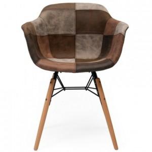 Sillón de comedor con brazos tapizada en patchwork CLIDE inspiración silla Tower de Eames