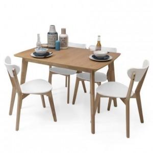 Conjunto de comedor de diseño nórdico MELAKA mesa extensible roble y 4 sillas