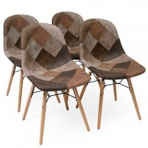 Pack de 4 sillas de comedor tapizadas en patchwork BONIE inspiración silla Tower de Eames