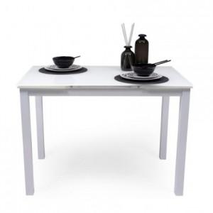 Mesa de cocina extensible PARIS WHITE sobre de cristal y estructura en metal blanco 110/170x70cm