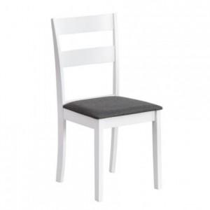 Silla de comedor DANA madera lacada en blanco y asiento tapizado gris