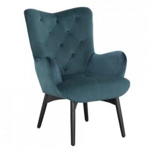 Butaca de diseño escandinavo CHARLINE tela velvet verde azulado