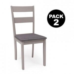 Juego de 2 sillas de comedor o cocina DALLAS estructura madera color gris claro asiento tapizado color gris