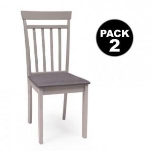 Pack de 2 sillas de comedor o cocina KANSAS estructura madera color gris claro asiento tapizado color gris