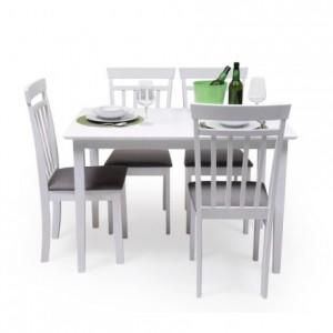 Conjunto de comedor KANSAS WHITE mesa y 4 sillas de comedor color blanco