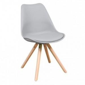 Silla de comedor ANDY asiento de polipropileno y patas de madera