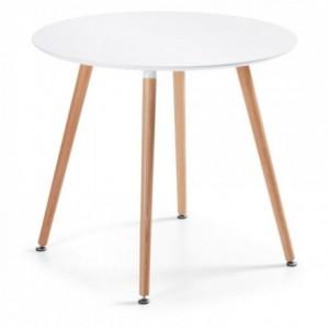 Mesa redonda de cocina de diseño nórdico DAW sobre lacado blanco y pies de madera 100x100 cm
