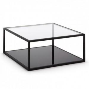 Mesa de centro GREENHILL cristal templado y estructura de acero negro 80x80
