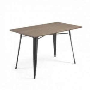 Mesa metálica industrial MALIRA acero y bambú color grafito 150x80 cm