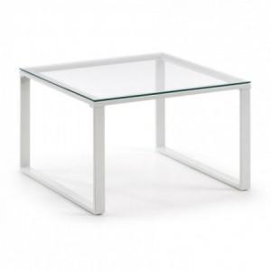 Mesa de centro SIVAN cristal templado y base de acero blanco
