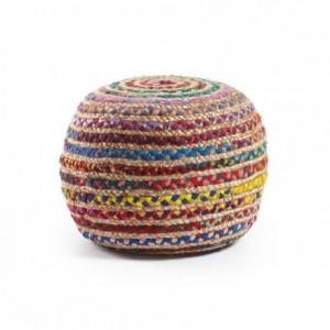 Puf redondo de yute natural y algodón multicolor SAMY 50x35