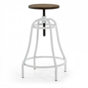 Taburete alto de diseño industrial MALIBU base de acero y asiento de bambú