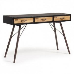 Consola de diseño industrial FREE madera de abeto acabado envejecido y metal