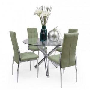 Conjunto de comedor BRISADELE mesa redonda de cristal de 100 cm de diámetro y 4 sillas de tela y patas de acero