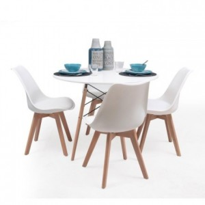 Conjunto de comedor TOWER 100 DAY mesa redonda de 100 cm y 4 sillas DAY