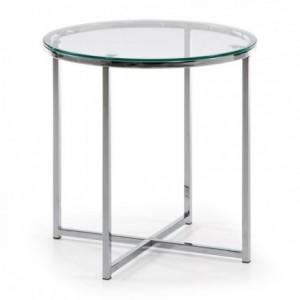 Mesa auxiliar VIVID cristal templado y base de acero cromado