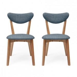 Pack de 2 sillas de comedor MELAKA tapizadas en tela y patas de madera de roble