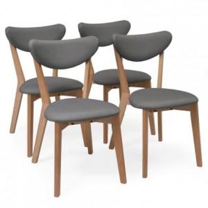 Pack de 4 sillas de comedor MELAKA tapizadas en tela y patas de madera de roble