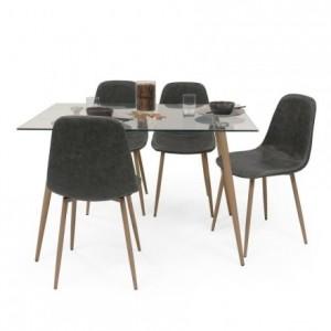 Conjunto de comedor CAIRO ANTIQUE mesa de cristal 120x80 y 4 sillas tapizadas
